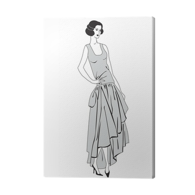 Flappers drawing clothes. Fashion flapper girls s