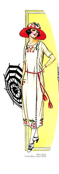 Flappers drawing clothes. Cherry dress with hat