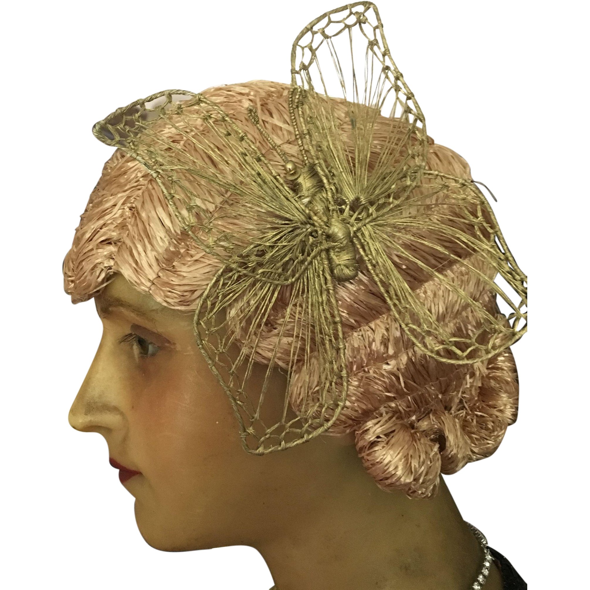 Flappers drawing cloche hat. Raffia wig with butterfly