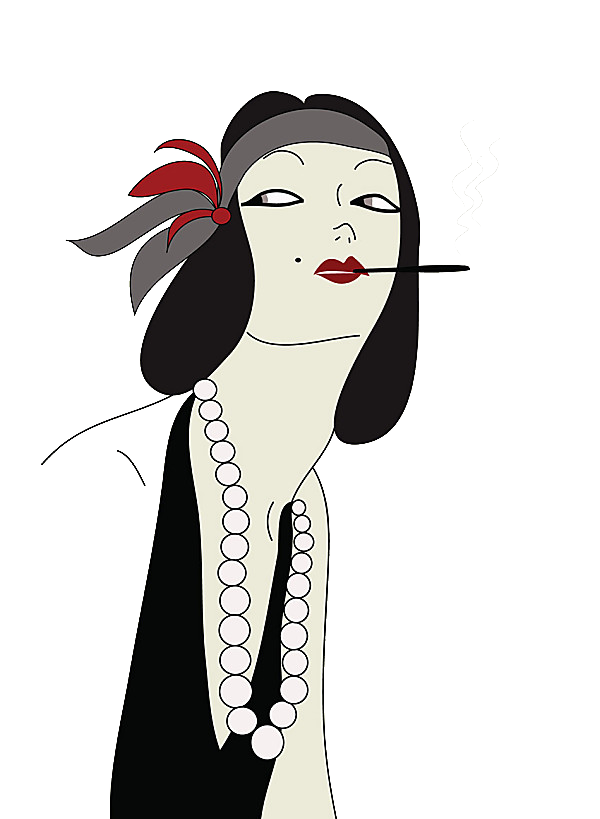 Flappers drawing smoking. S female cartoon