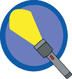 Flashlight transparent draw. Light color facts science