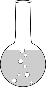Flask drawing flat bottom. Round boiling clip art
