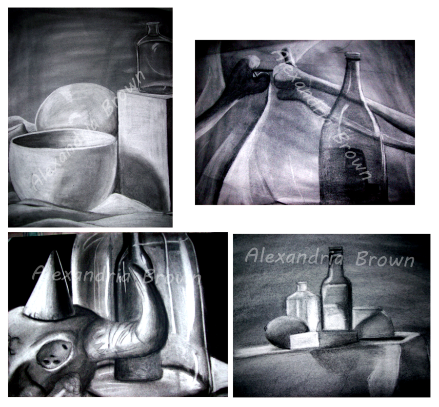 Flask drawing still life with. Charcoal by togekisser on