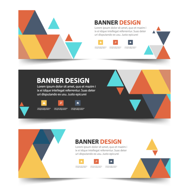 Header vector standee banner design. Colorful abstract triangle corporate