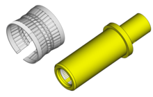 Clip spring electrical connector. Wikipedia typical crown inserted