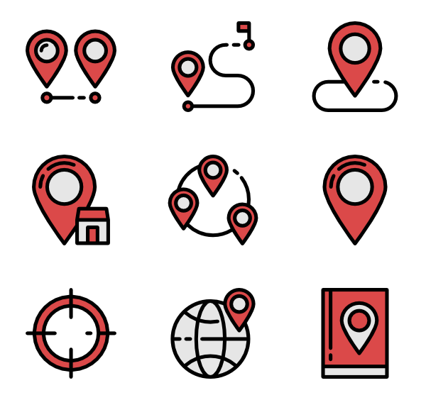 Flat clip routing. Route icons free vector