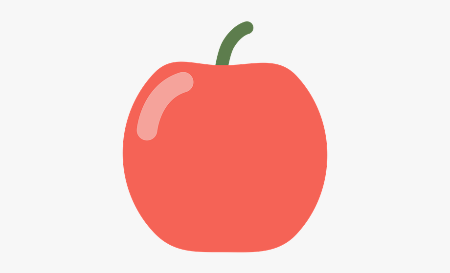 Flat fruit. Red apple vector graphics