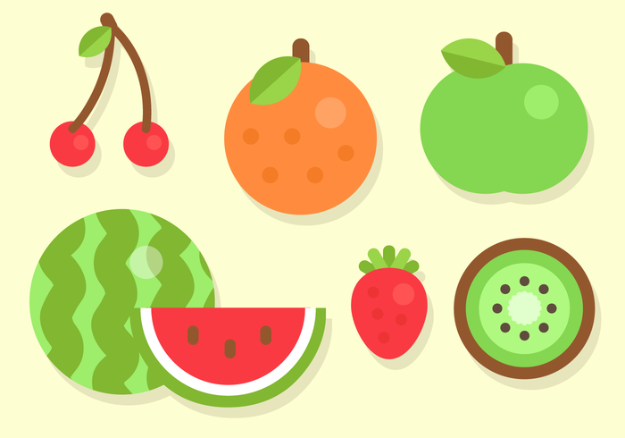 Flat fruit. Free vector download vectors