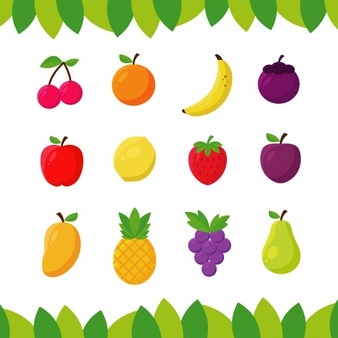 Flat fruit. Grapes fruits vectors photos