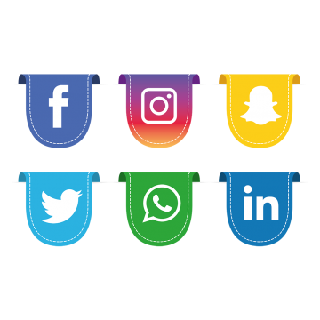 Flat social media icons png. Vectors psd and clipart