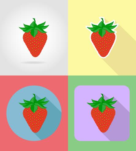 Flat strawberry. Fruits set icons with