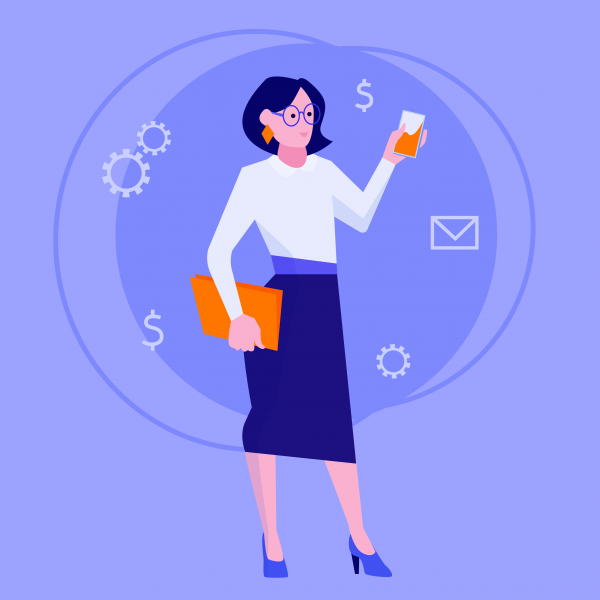 Flat style modern web businesswoman infographic icon collage. Business woman in