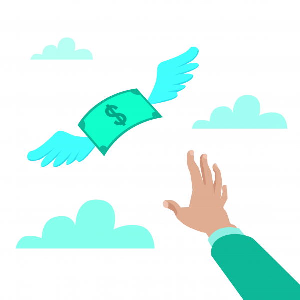 Flat style vector illustration of a hand reaching for paper mone.