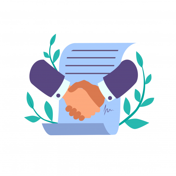 Flat vector illustration of a handshake with contract and green.
