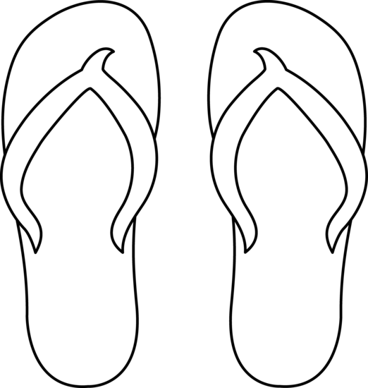 Flip flops clipart outline. Black and white panda