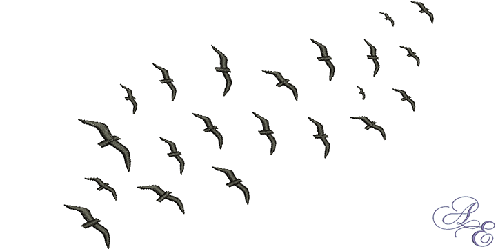 Flock of birds silhouette png. Art embroidery