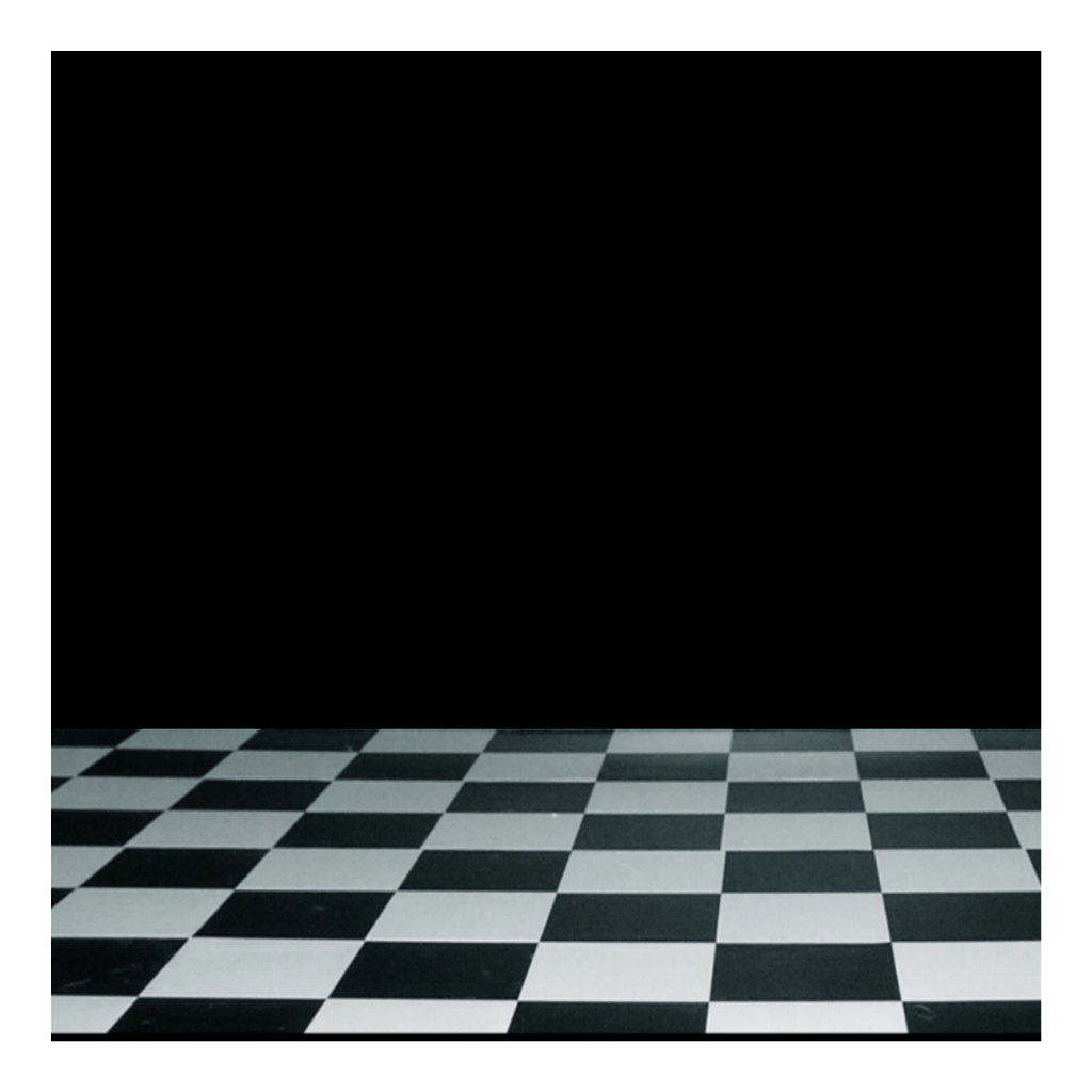 Transparent floor checkerboard. Background black wall