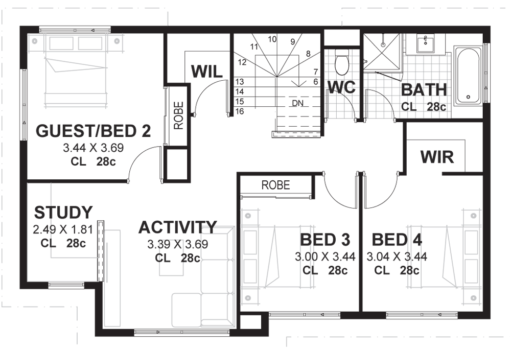 Drawing plan property. Bedroom storey house