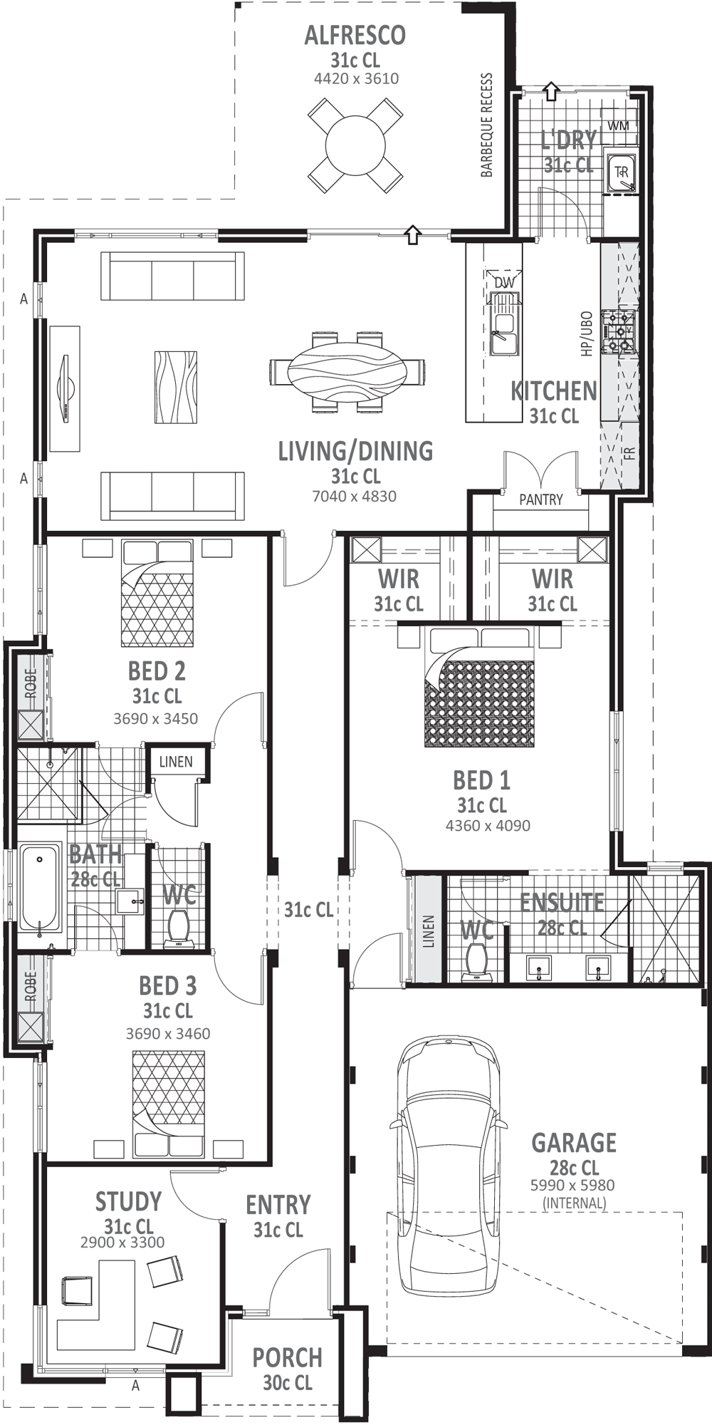 Bedroom house plans. Drawing bed black and white jpg library library