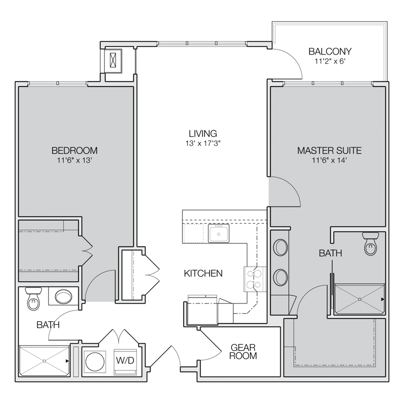 Drawing bedrooms apartment room
