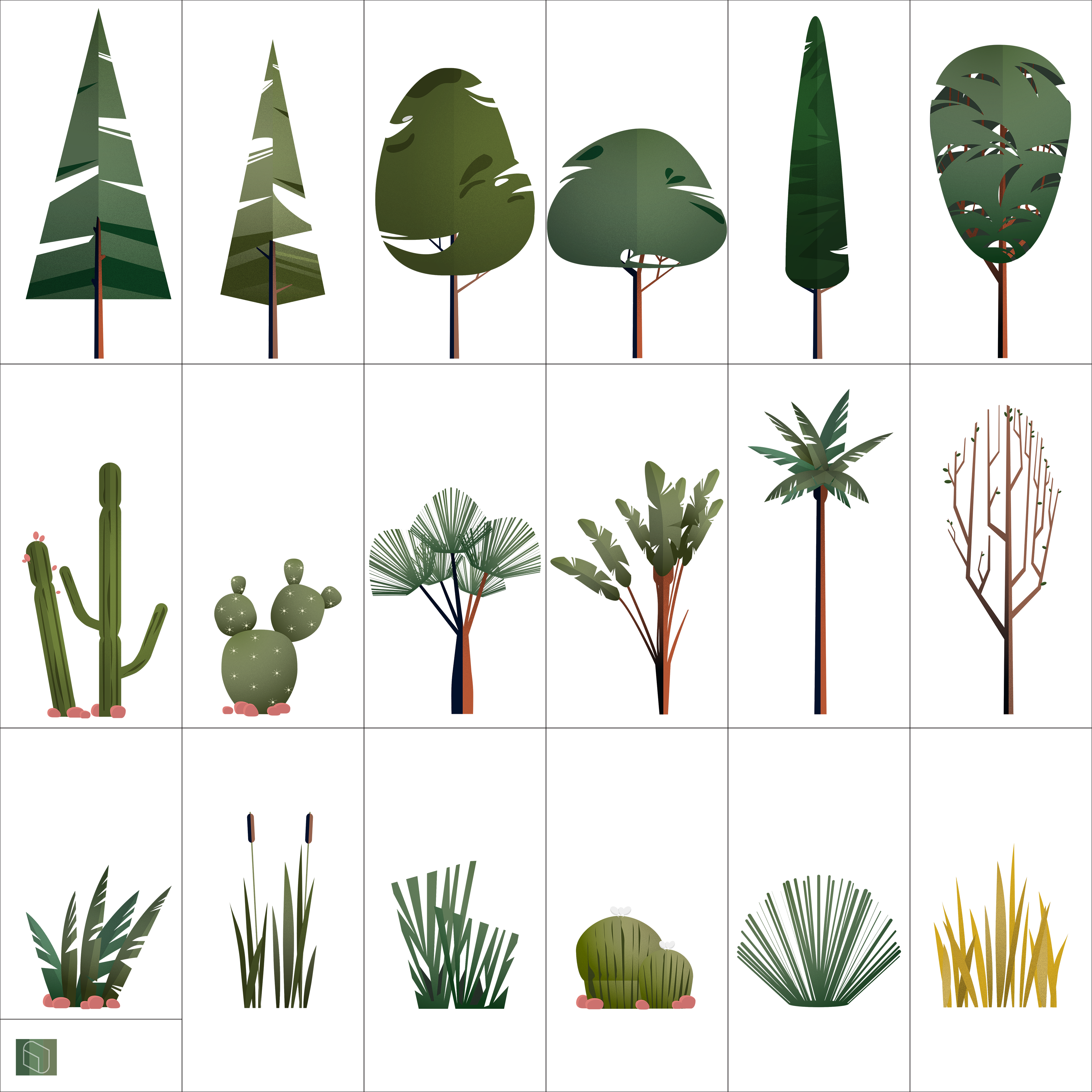 Vase vector plant. Trees exterior plants for