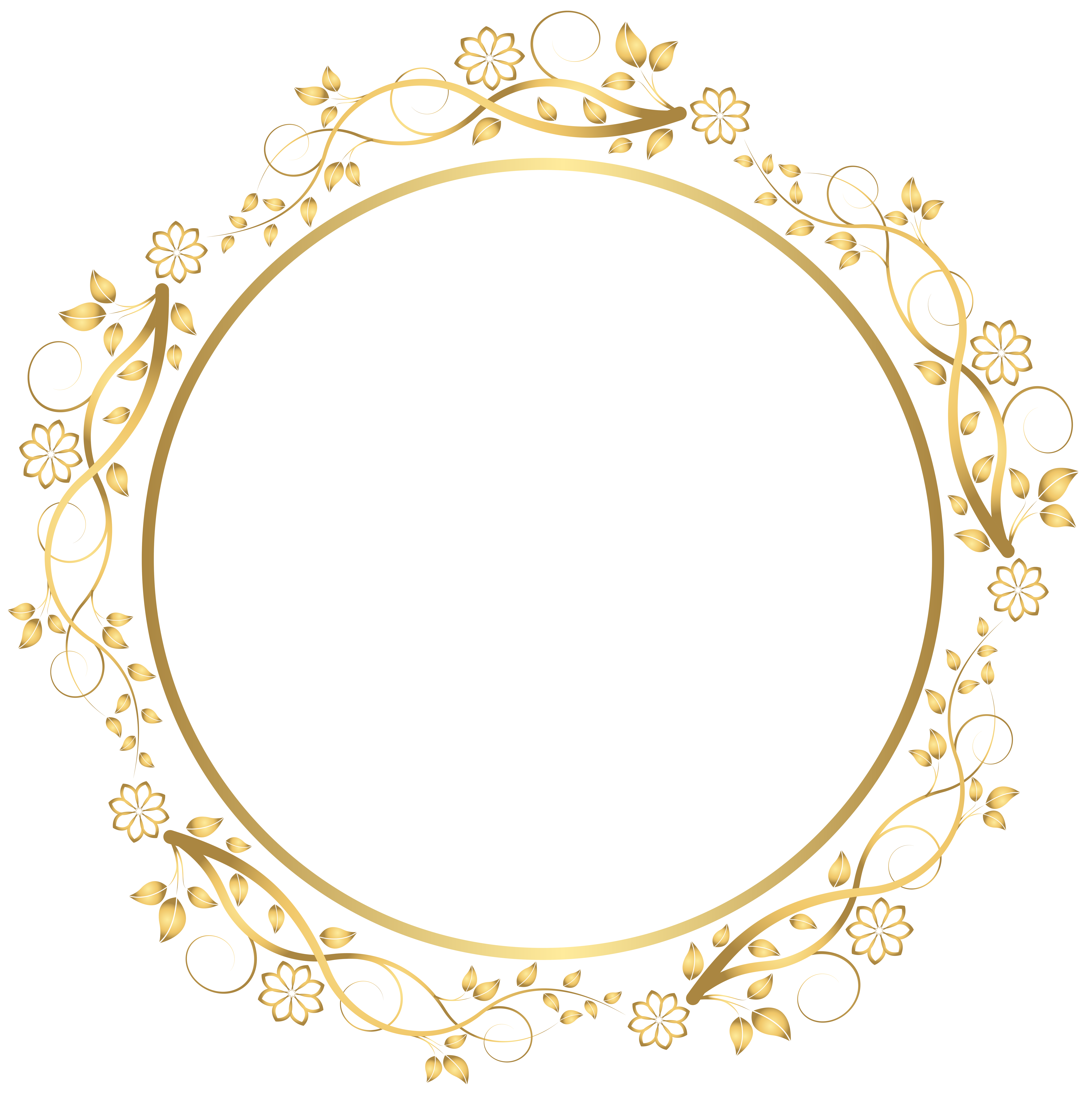Floral circle png. Gold round border transparent