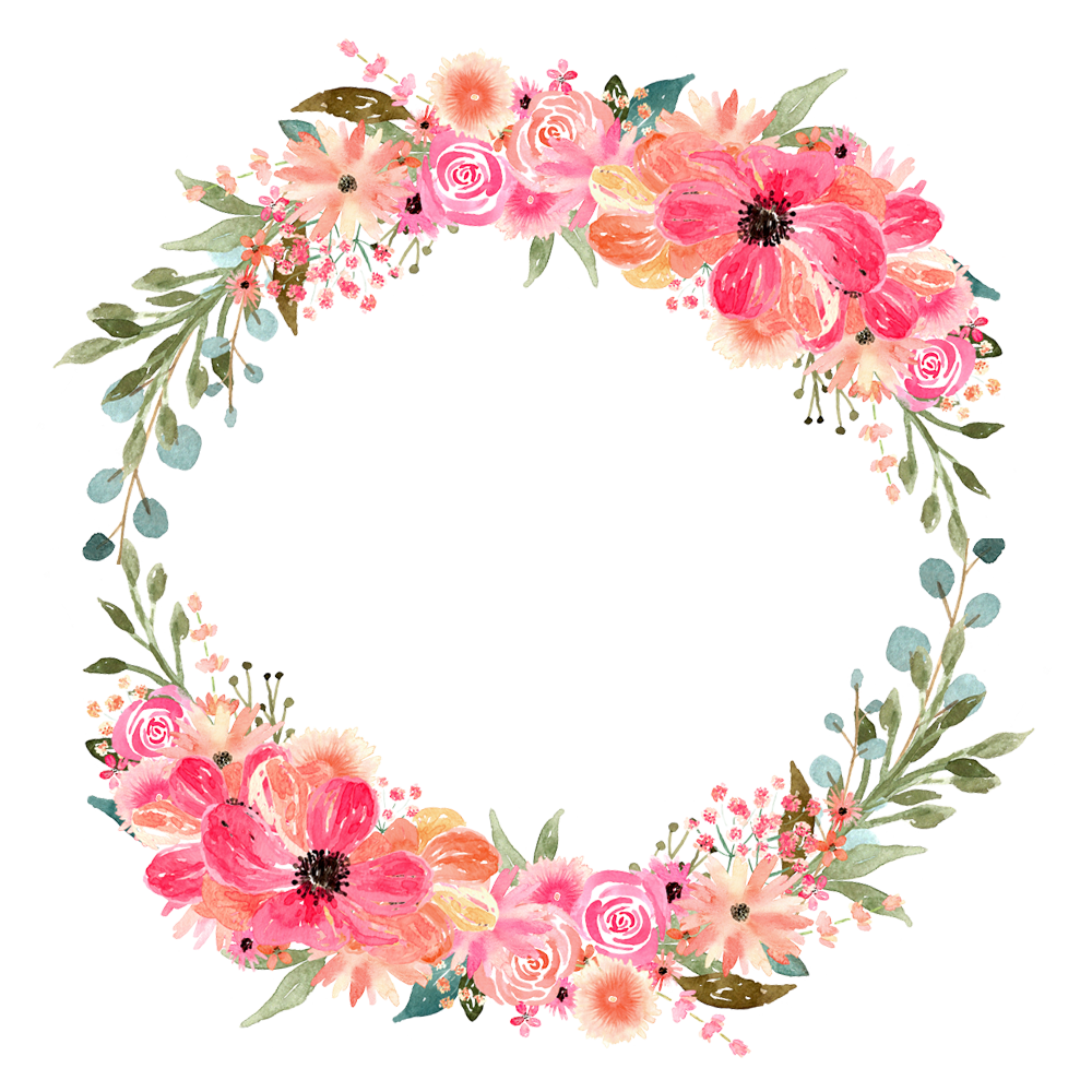 Watercolor wreath flower png. Florals for graphic design