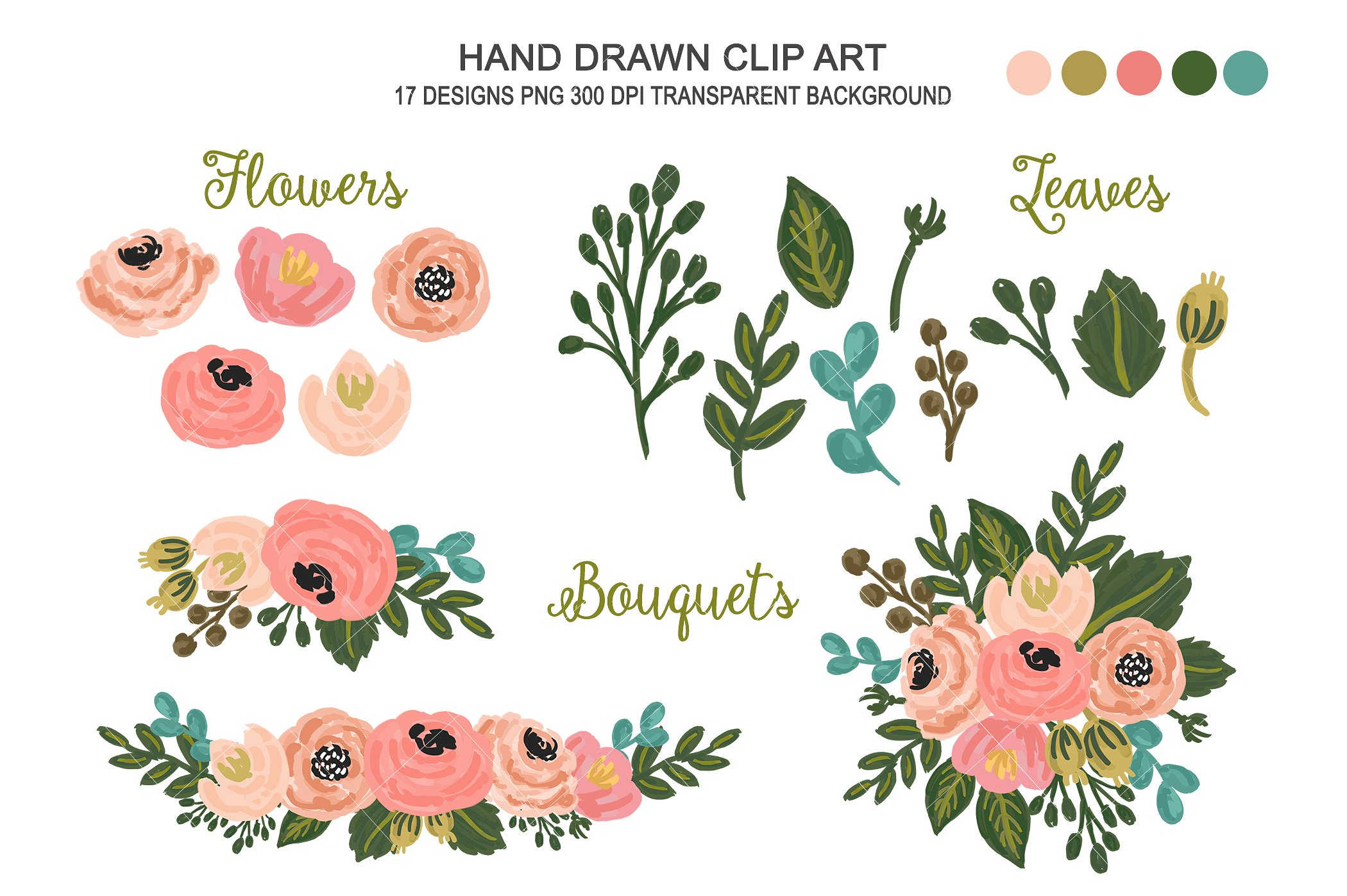 Floral clipart. Wedding flower art illustrations