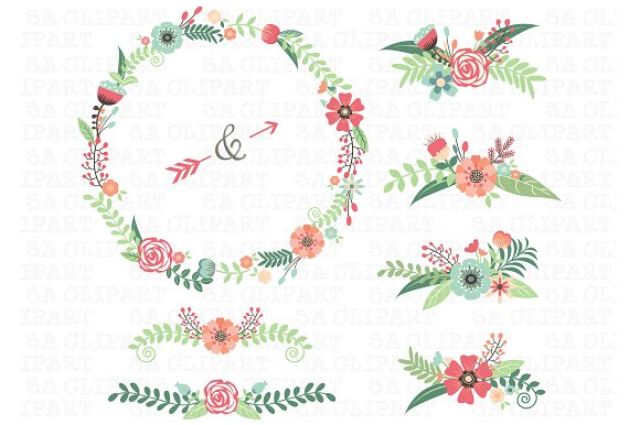 Floral clipart. Wedding illustrations creative market