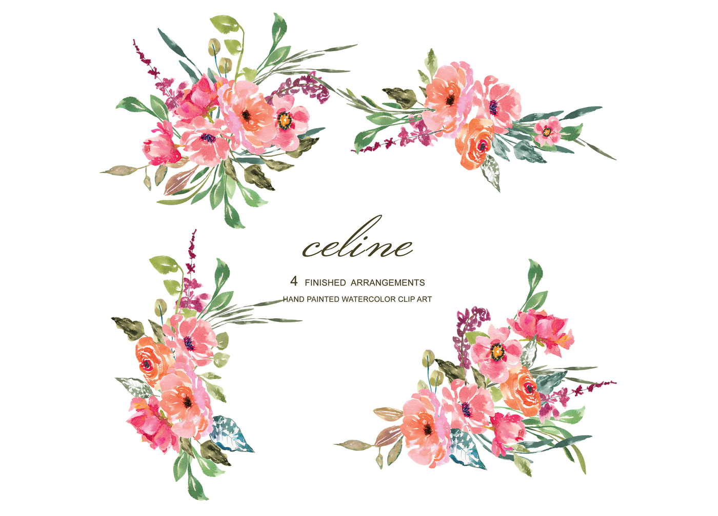 Floral clipart. Watercolor rustic flower pink