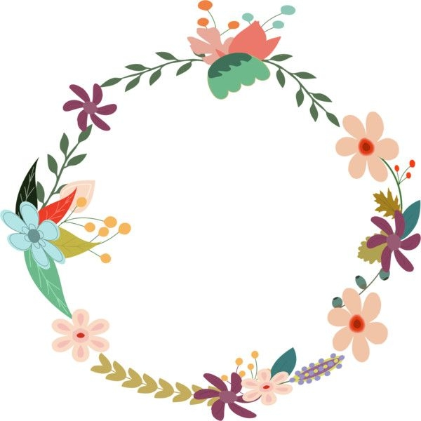 Floral clipart circle. Flower vintage wreath liked