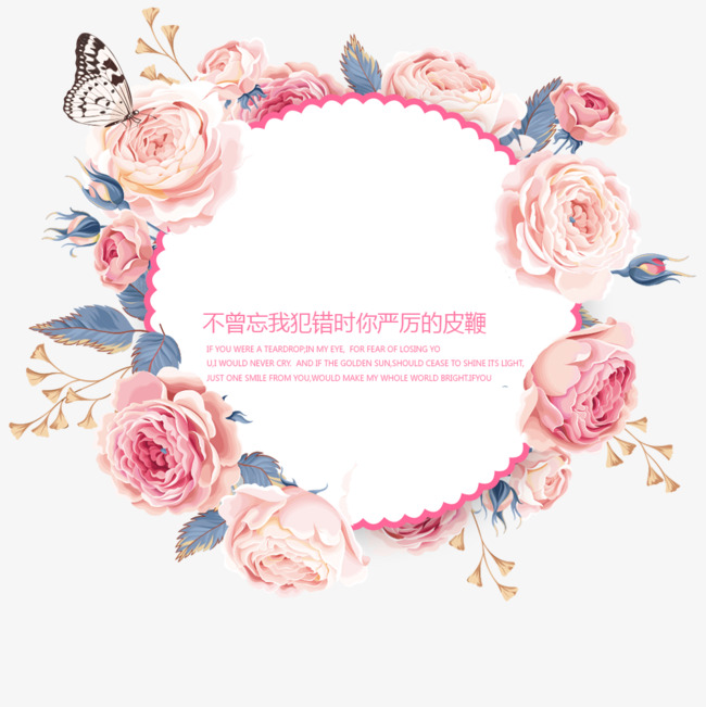 Floral clipart circle. Border frame circular flowers