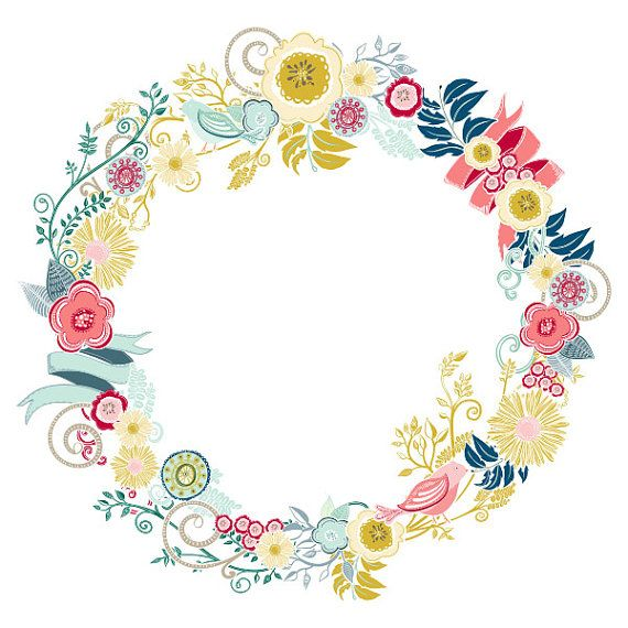 Floral clipart circle. Colourful flower clip art