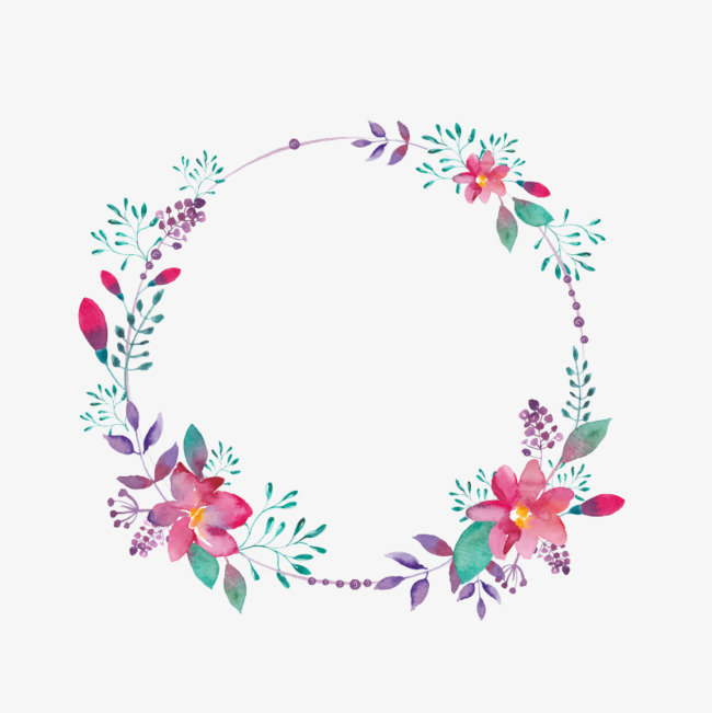 Floral clipart circle. Purple flower borders creative