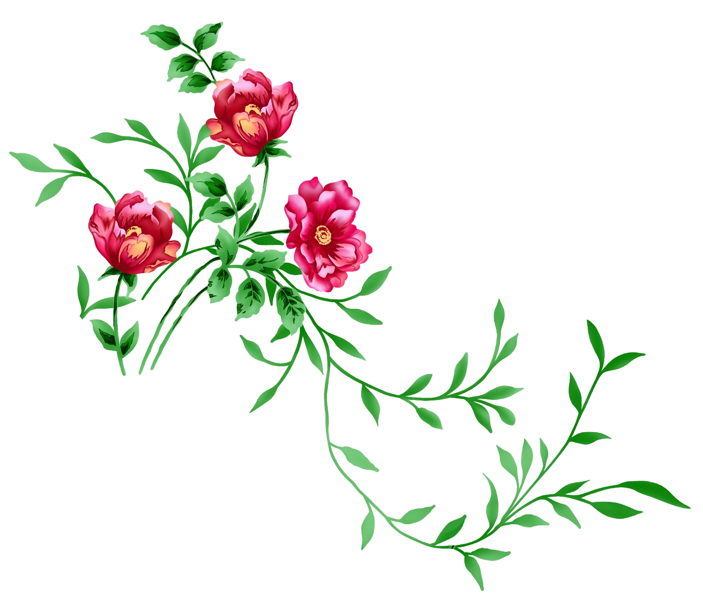 Red floral decor clipart. Transparent png flowers image library library