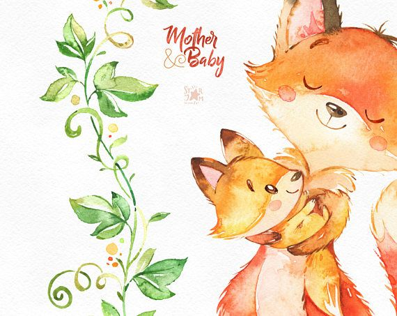 Floral clipart fox. Mother baby watercolor animals