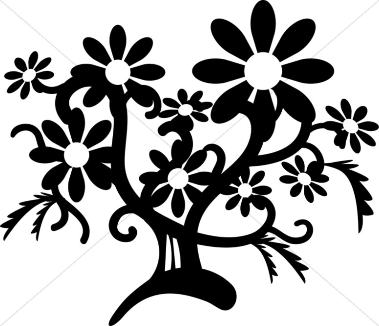 Floral clipart fox. Black and white flower