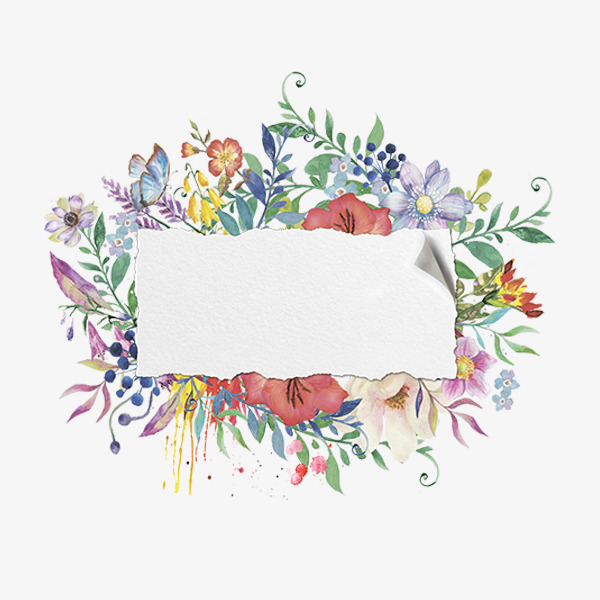 Floral clipart hand drawn. Painted watercolor frame material