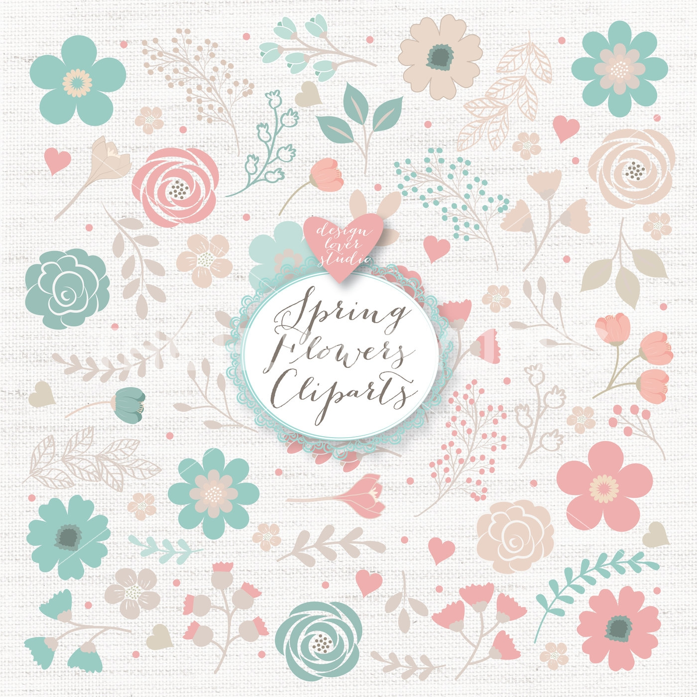 Floral clipart hand drawn. Vector rustic wedding shabby