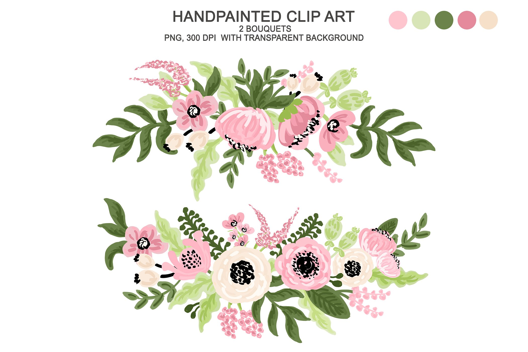 Floral clipart. Digital watercolor flower illustrations