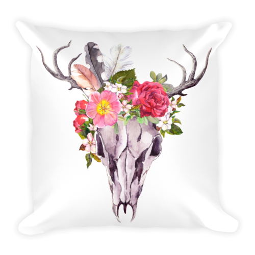 Floral print png. Crown skull pillow wilderness