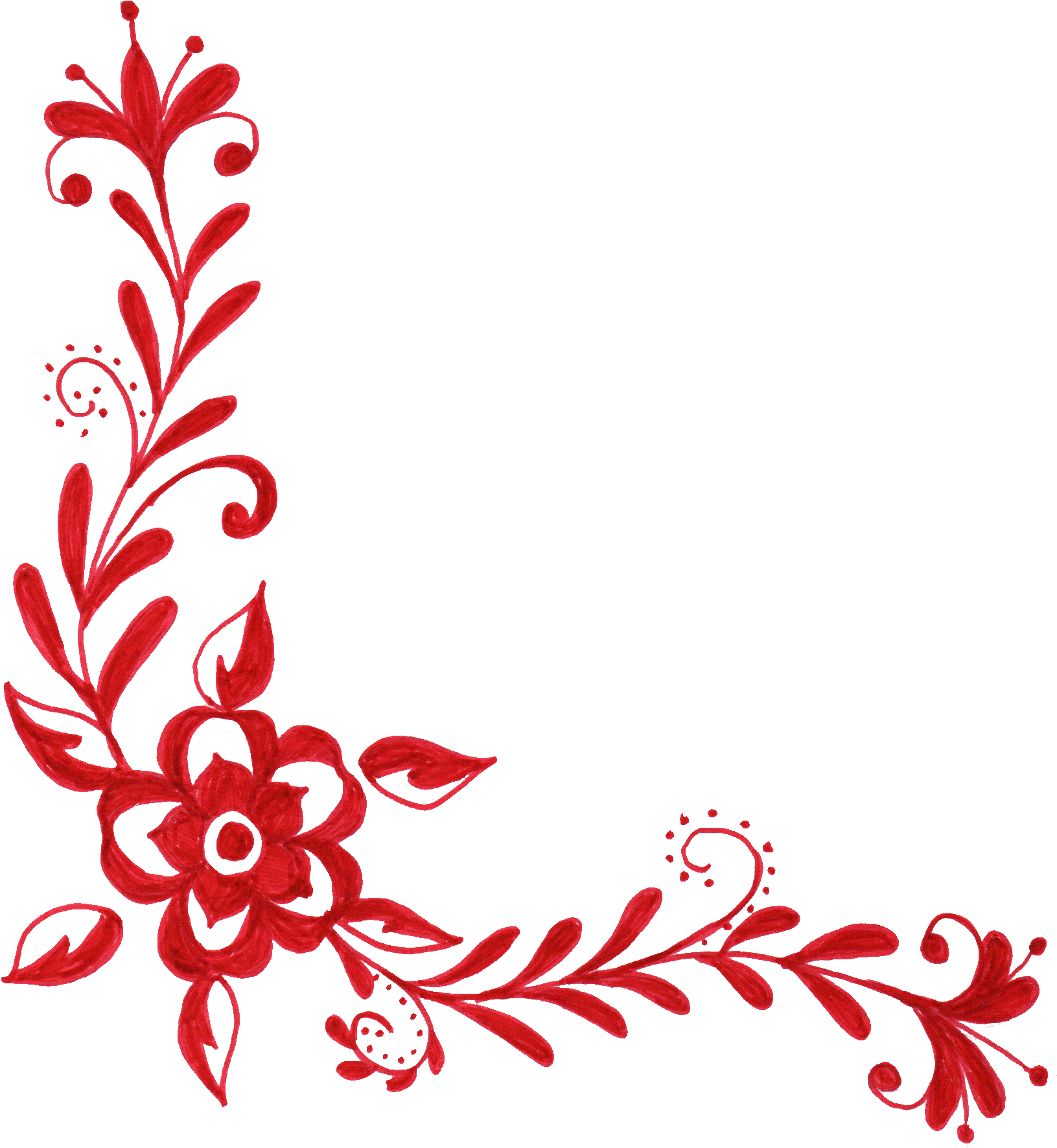 Floral designs png free download. Red flower corner