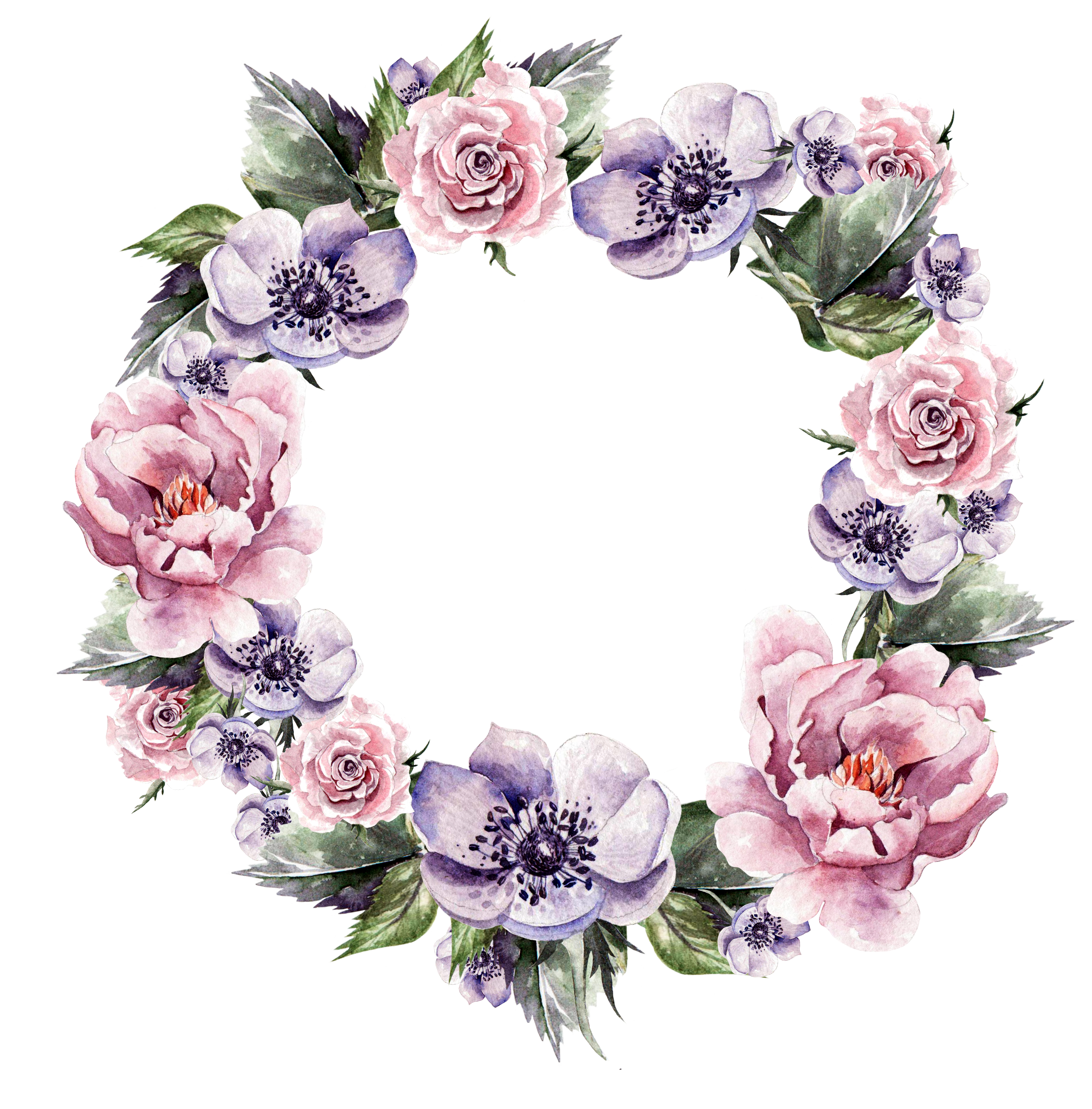 Floral garland png. Flower wreath wedding invitation