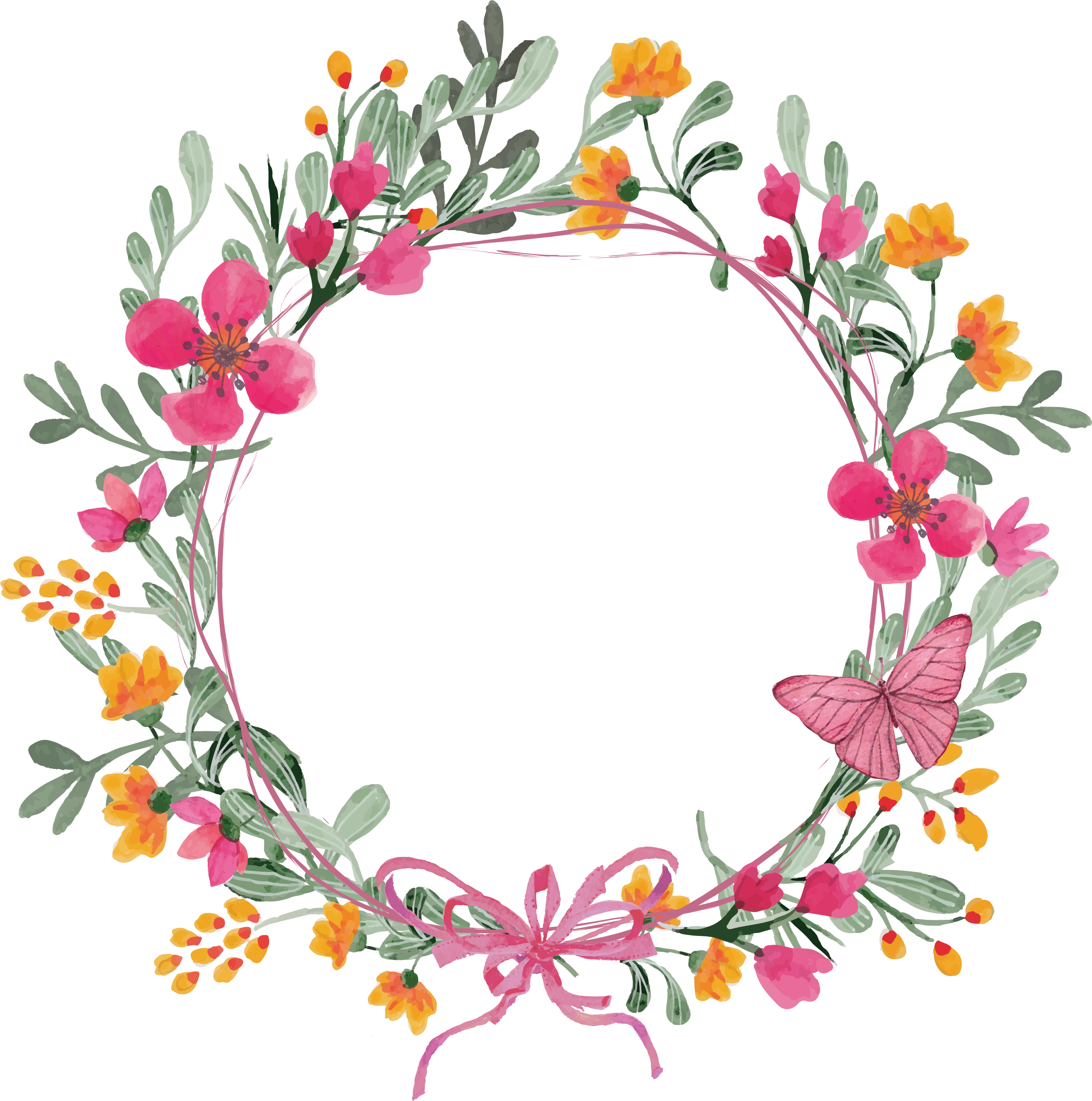 Floral garland png. Flower pink butterfly wreath