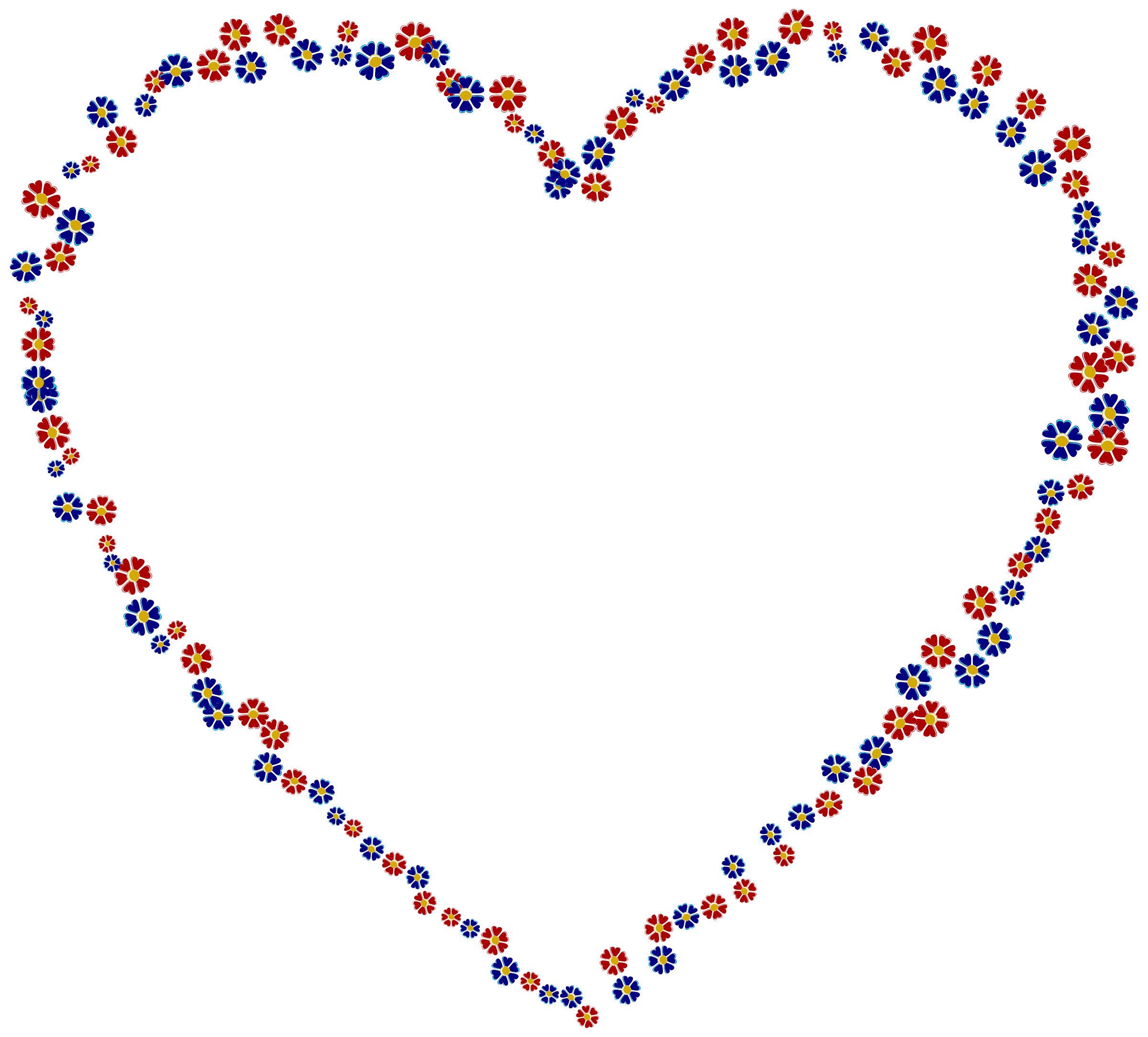 Floral heart png. Red and blue icons