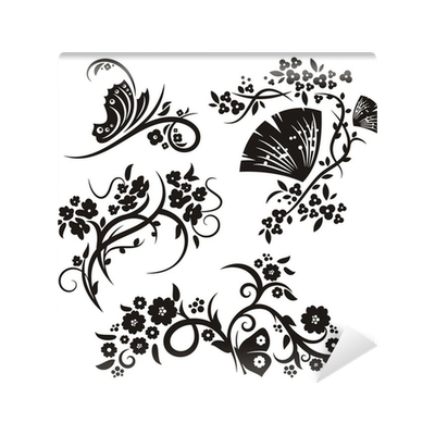 Floral ornaments png. Chinese wall mural pixers