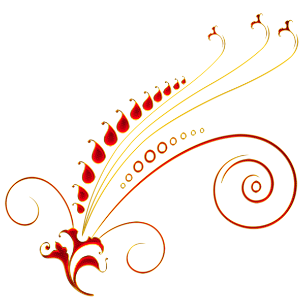 Floral ornaments vector png transparent. Red and gold ornament