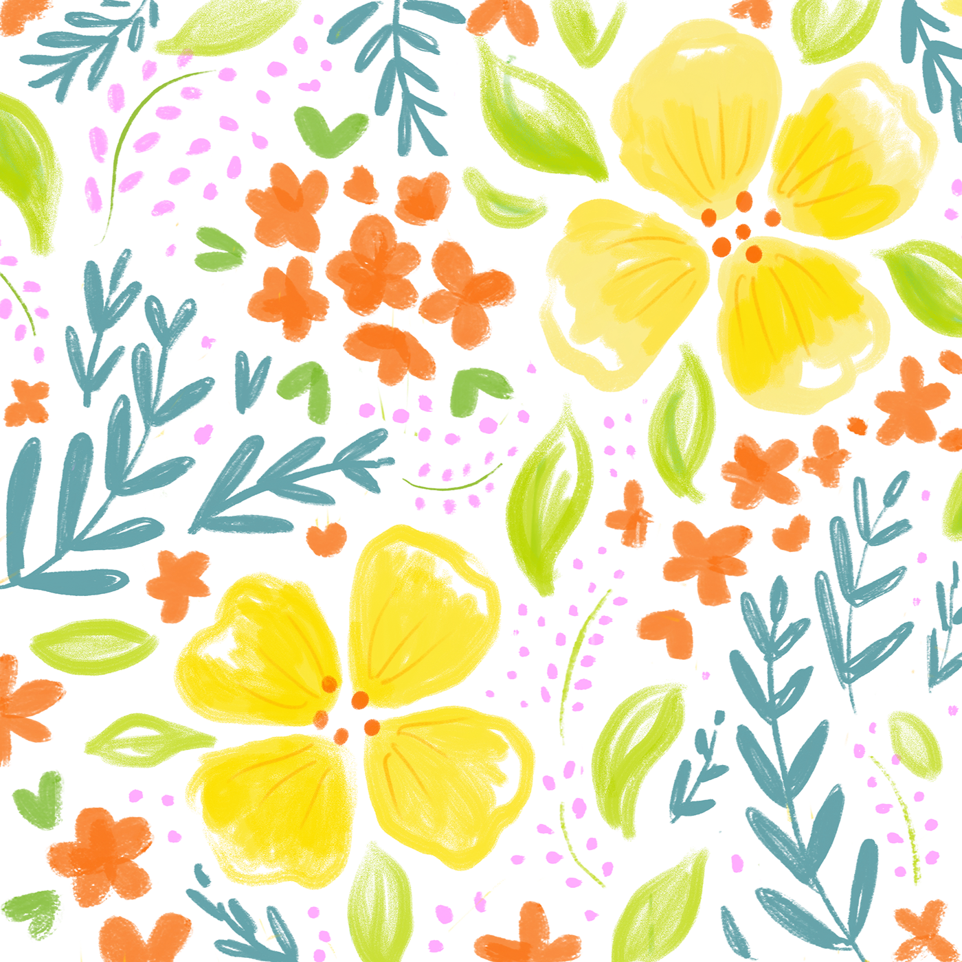 Floral pattern png. Bright and bold summer