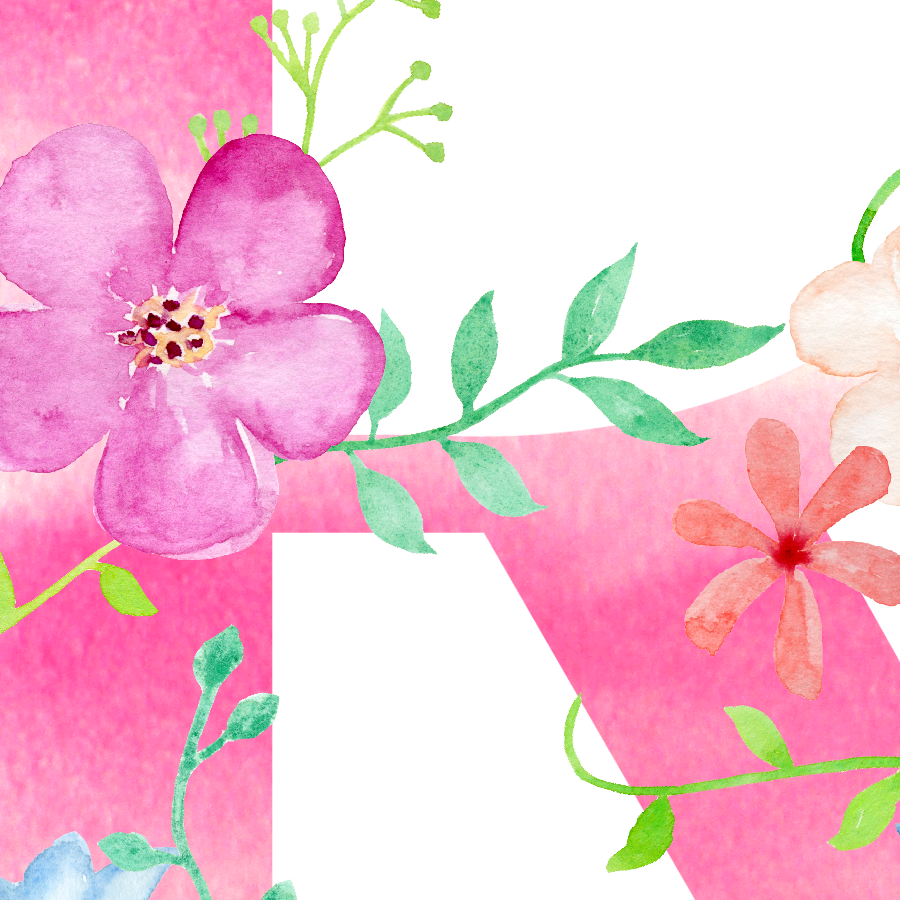 Floral print png. Watercolor pink letter r