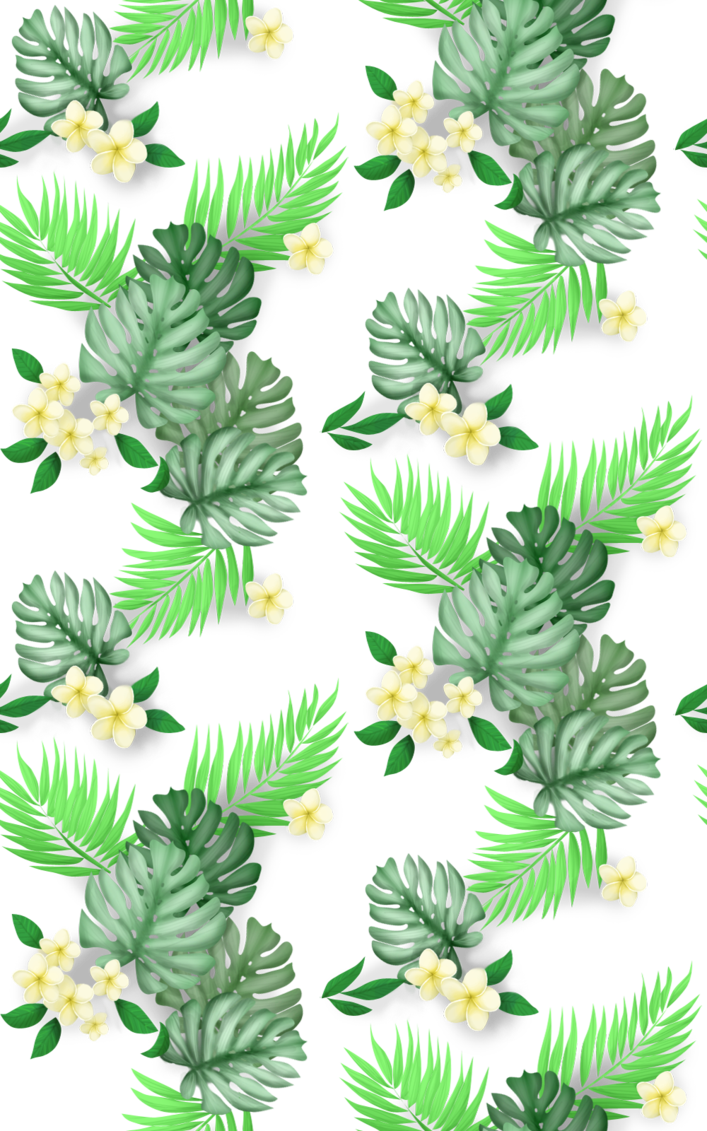 Tropical print png. Seamless hawaiian floral by
